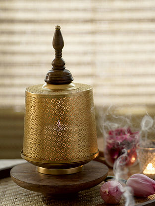Antique Gold Ruhani Table Candle Stand (Dia-7.5in, H-10in)