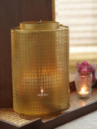 Antique Gold Ruhani Oval Lantern (L-7in,W-5in,H-13.5in)