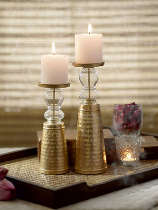 Gold Hansa Candle Stand ( Set Of 2)