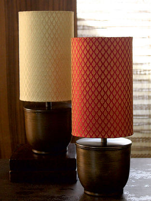 Red and Antique Gold Courtyard Banaras Table Lamp With Shade (Dia-5in, H-14.5in)