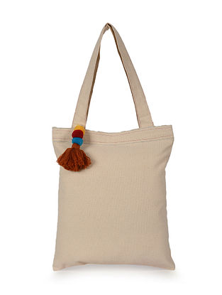 Beige Handcrafted Canvas Cotton Tote Bag