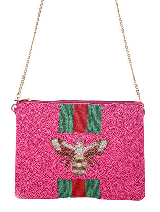 Pink Handcrafted Beaded Cotton Sling Bag