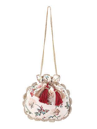Red White Hand Embroidered Velvet Potli