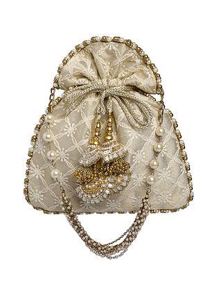 Gold Hand Embroidered Satin Potli