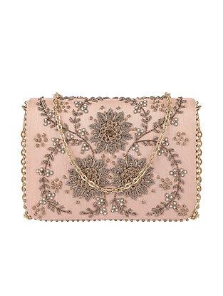 Peach Hand Embroidered Satin Clutch