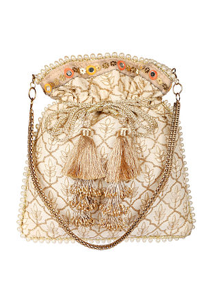 Off White Hand Embroidered Satin Potli