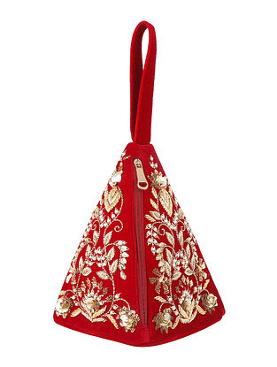 Red Hand Embroidered Velvet Clutch
