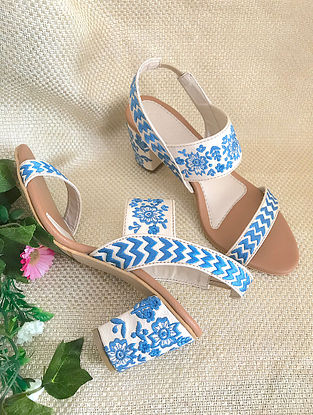 White Blue Embroidered Faux Leather Block Heels