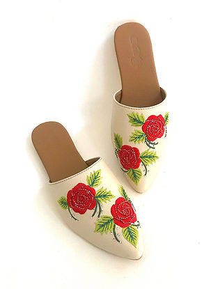 Cream Red Embroidered Faux Leather Mules