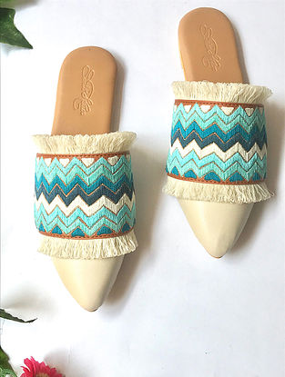 Cream Blue Embroidered Faux Leather Mules