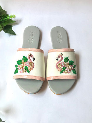 White Embroidered Faux Leather Flats