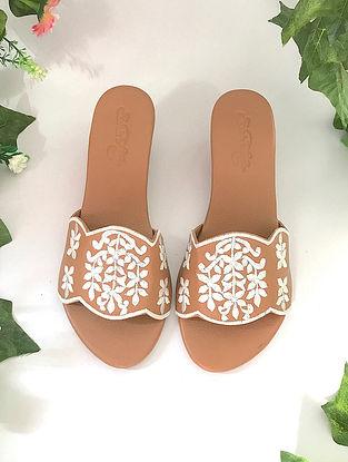 Tan White Embroidered Vegan Leather Box Heels