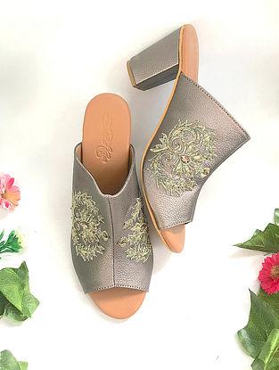 Gun Metal Zari Embroidered Vegan Leather Block Heels