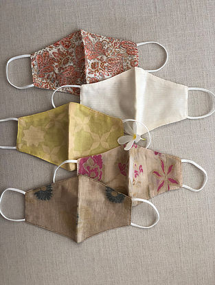 Multicolor Cotton and Chanderi Mask Set of 5