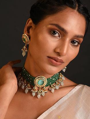Green Gold Tone Kundan Beaded Choker Necklace With Earrings