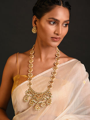 Green White Kundan Beaded Necklace With Earrings