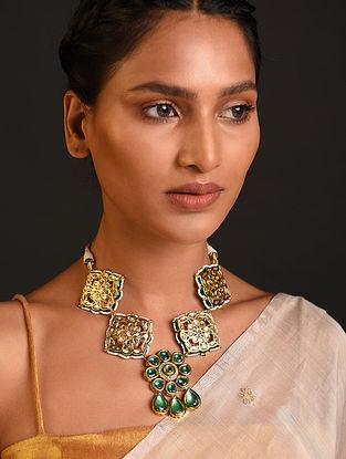 Green White Gold Tone Kundan Beaded Necklace