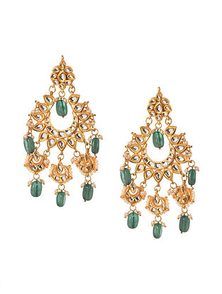 Green White Gold Tone Kundan Earrings