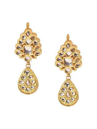 White Gold Tone Kundan Earrings