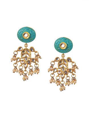 Turquoise White Gold Tone Kundan Earrings