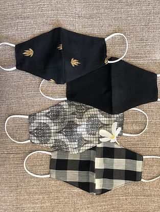 Black and White Cotton and Chanderi Mask Set of 4