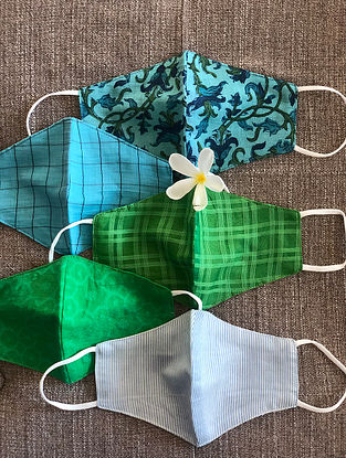 Blue and Green Cotton and Chanderi Mask Set of 5