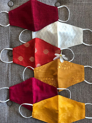 Red and Yellow Cotton and Chanderi Mask Set of 6