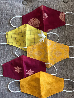 Red and Yellow Cotton and Chanderi Mask Set of 5