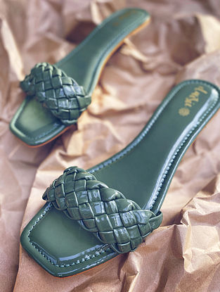 Green Handcrafted Vegan Leather Flats