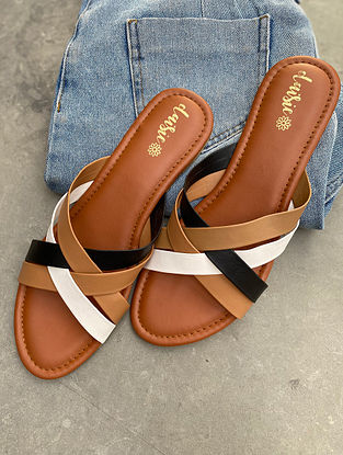 Tan Handcrafted Vegan Leather Flats