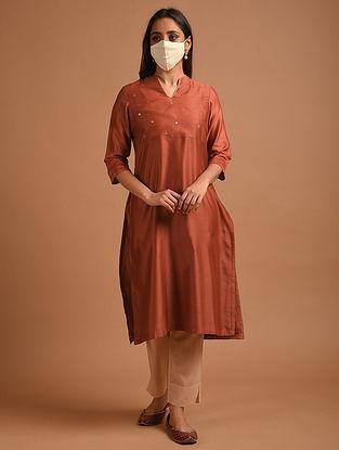 Rust Chanderi Kurta with Mask