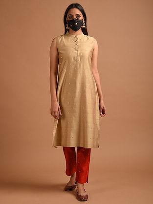 Light Brown Handwoven Chanderi Jacquard Kurta with Mask