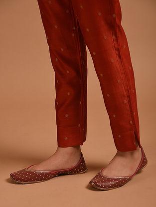 Red Handwoven Chanderi Pants