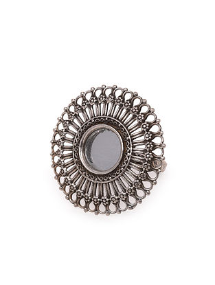 Tribal Silver Adjustable Glass Ring