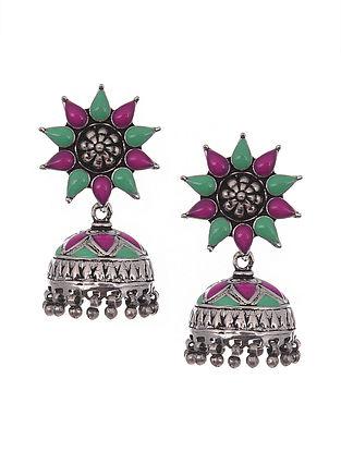 Pink Green Tribal Silver Enamel Jhumki Earrings