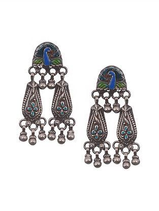 Blue Green Tribal Silver Enamel Earrings