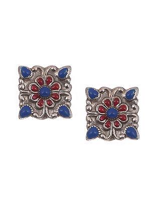 Red Blue Tribal Silver Enamel Earrings