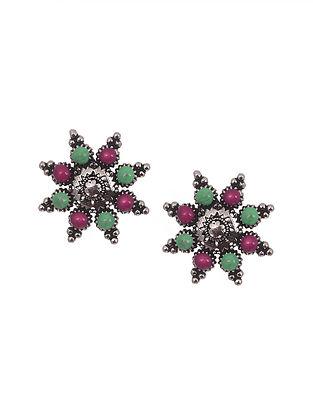 Pink Green Tribal Silver Enamel Earrings