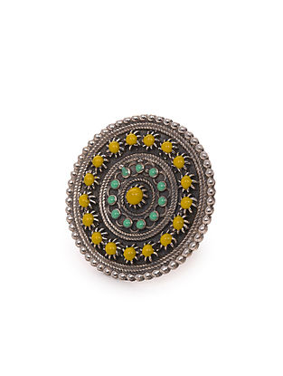Yellow Blue Tribal Silver Adjustable Ring