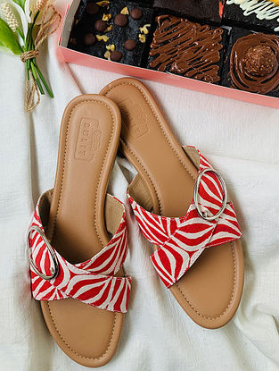 Red White Handcrafted Faux Leather Flats