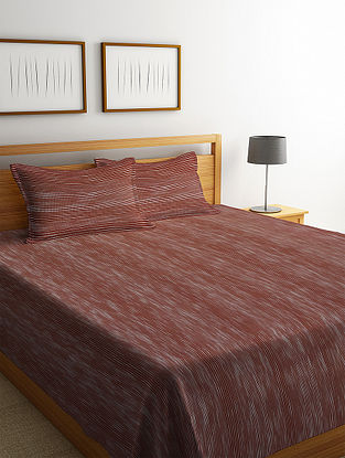 Brown Striped Cotton King Size Bed Cover Set