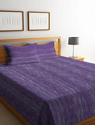 Violet Striped Cotton King Size Bed Cover Set