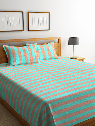 Green Striped Cotton King Size Bed Cover Set