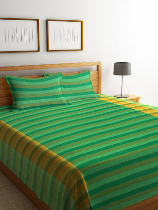Green Woven Design Cotton King Size Bed Cover Set
