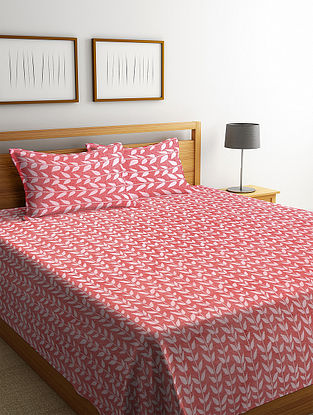 Red Woven Design Cotton King Size Bed Cover Set