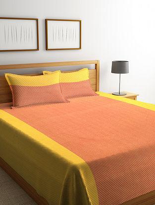 Orange Woven Design Cotton King Size Bed Cover Set