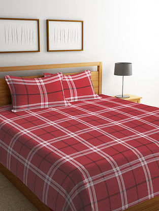 Red Checked Cotton Bed Cover Set