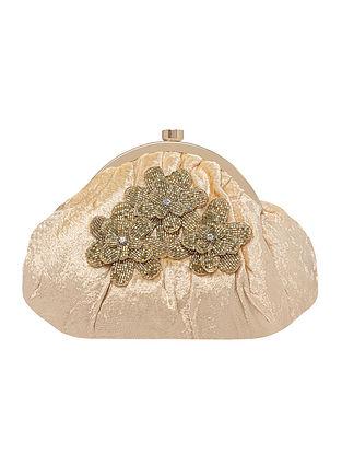 Gold Handcrafted Velvet Clutch