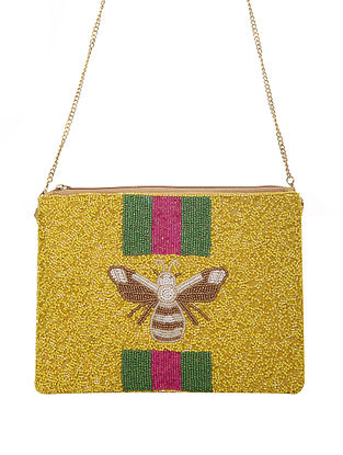 Yellow Handcrafted Beaded Cotton Sling Bag