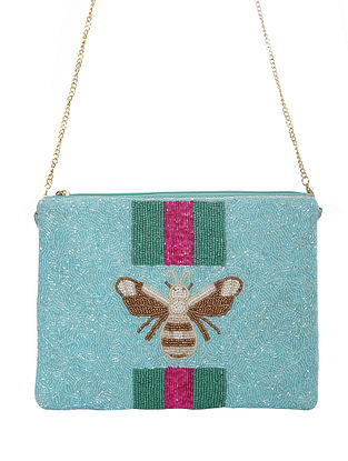 Turquoise Handcrafted Beaded Cotton Sling Bag